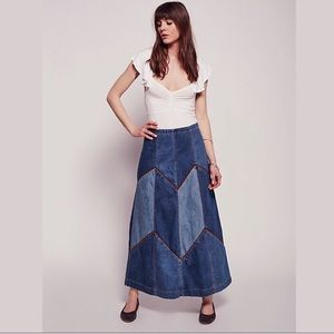 Free People Bliss Made Denim Patched Maxi Skirt